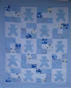 "Nine Patch Applique Throw Pattern 34"" x 27.5"""