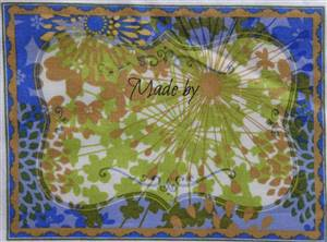"Blue Abstract Quilt Label 6"" x 4.5"""