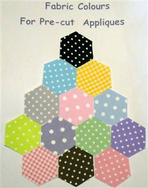 Colours available for Pre-Cut Fabric Appliques. CARD NOT FOR SALE