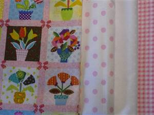 Pink Floral Squares Cotton Fabric Bundle