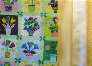 Green Floral Squares Cotton Fabric Bundle