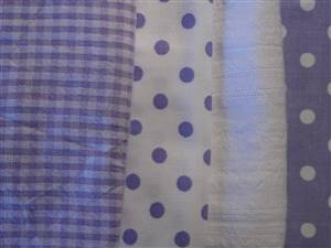 Purple/white Cotton/seersucker Fabric Bundle