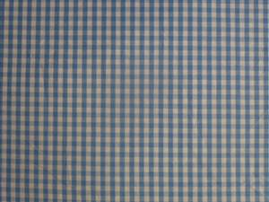 Mid Blue Small Check Cotton Gingham Fabric