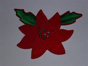 Christmas Flower Embroidered Patch 98 x 70mm