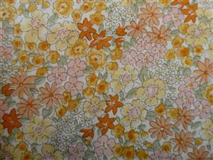 Cream Floral Cotton Fabric.