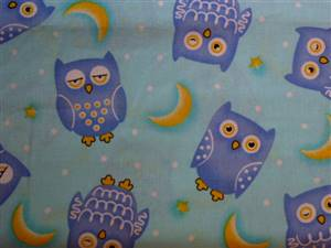 Blue Cotton Fabric with Blue Owls
