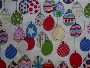 Cream with Coloured Balloons Cotton Fabric
