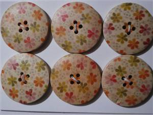 Floral Wooden Button x 30mm. x 6