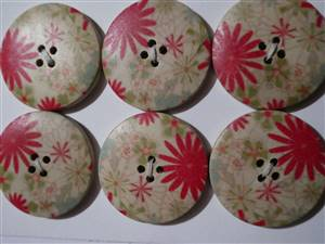 Floral Wooden Button x 30mm x 6