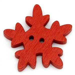 "Christmas Wooden Snowflake Buttons 1"" red"