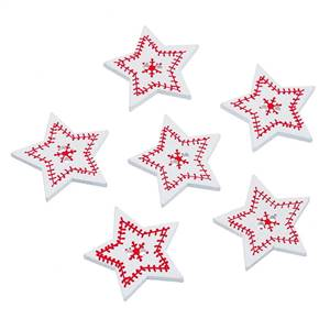 Christmas Wooden Star Buttons 3.3 x 3.5cm white + Red