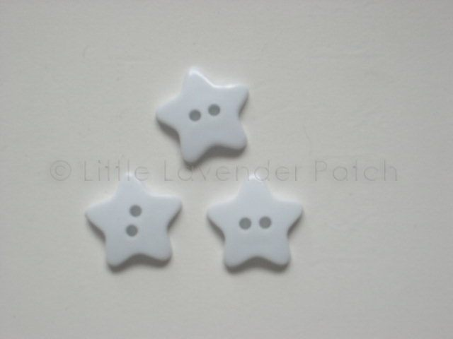 3 White Star Buttons :: The Little Lavender Patch