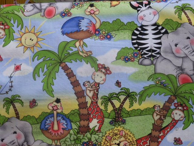 Childrens jungle scene cotton fabric the little for Childrens jungle fabric