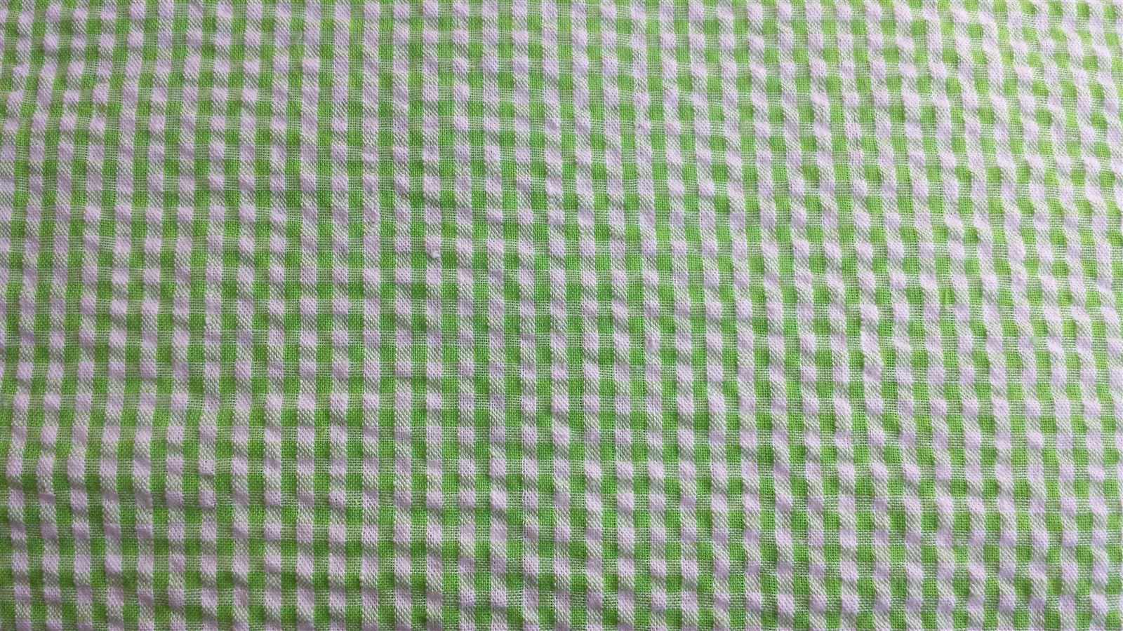 Green White Cotton Larger Check Seersucker Fabric The