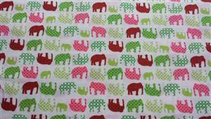 """Green/ Red/ Pink Elephant Cotton Fabric. 44"""" wide"""