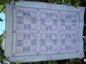 "Pink/Purple Baby Seersucker Patchwork Crib Quilt 34"" x 48"" Pattern"