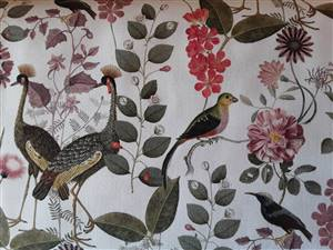 "Light Furnishing weight Bird Floral Fabric  60"" wide"