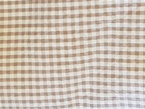 "56""  Brown Large Check Seersucker Check Fabric"