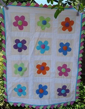Bright Flower Seersucker Pram Throw/Coverlet