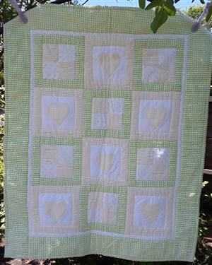 "Green/yellow Hearts & square Throw. 31"" x 25"". ex sample"