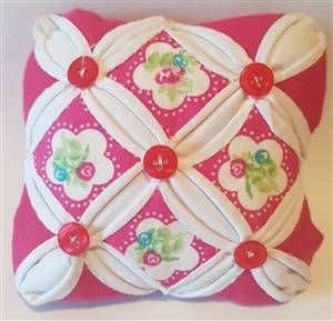 Cerise Floral Cathedral Window Pin Cushion Kit