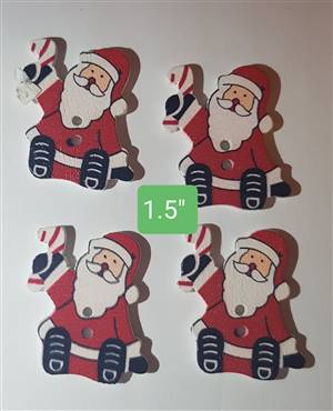 Christmas Sitting Santa Wooden Button 30mm x 28