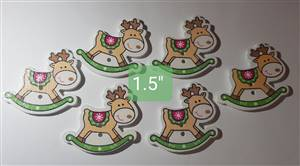 Christmas Rocking Reindeer Button