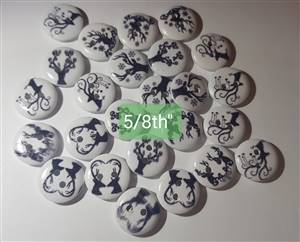 Christmas Wooden Black deer Buttons 18mm white + Red