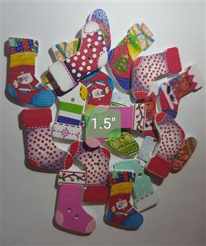 Christmas Socks Wooden buttons 3.5 x 1.9cm