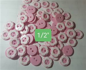 Pink/white Floral Plastic Button