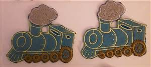 Turquoise Train Sew/Iron on Patch 60mm