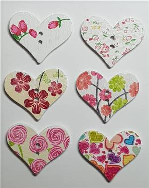 Heart Floral wooden buttons 29 x 23mm
