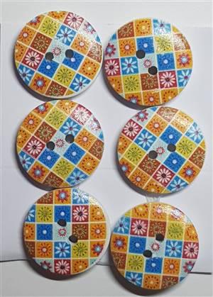 Wooden Tree Pattern Button x 20mm