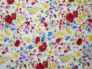 "small poppy Floral Fabric  44"" wide"