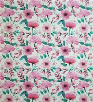 """Poppy/ green Floral Fabric  60"""" wide"""