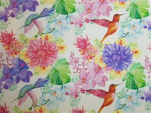 """Colourful Hummingirds Floral Fabric  60"""" wide"""