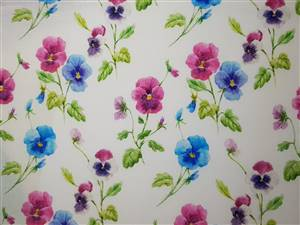 "Blue/pink pansies Floral Fabric  60"" wide"