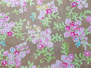 "SALE Brown/Pink floral 44"" cotton fabric"