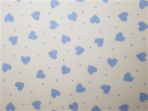 White and Blue Heart Cotton Poplin Fabric