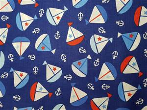 Blue + yachts Cotton Childrens Fabric