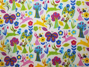 "Floral Rabbit Fabric  44"" wide"