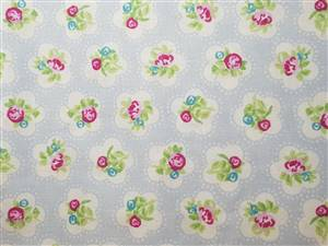 SALE.Light Blue Floral/spot Cotton Fabric. 54""