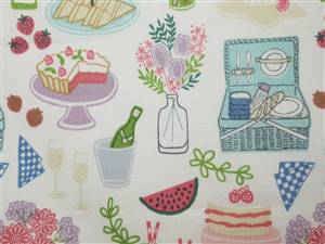 "Summer Picnic Cotton Fabric.  44"" x 38"""""