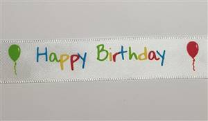 Satin Happy Birthday Ribbon 3/4""