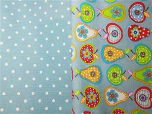 Soft Canvas Fabric. Green dots & apples