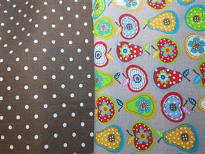Soft Canvas Fabric. Brown dots & apples
