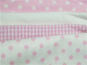 Pink Seersucker/Cotton Fabric Bundle