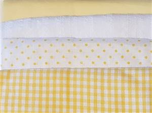 Yellow Cotton Fabric Bundle. 4 Fat Quarters