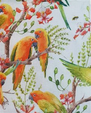 "Lovely orange birds Floral Fabric  60"" wide"