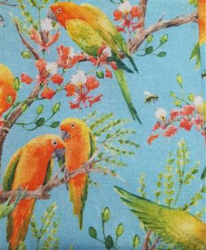 "Lovely orange birds on blue Floral Fabric  60"" wide"